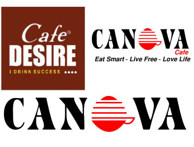 Logo of canova cafe, Cafe Desire and Canova coffee machine